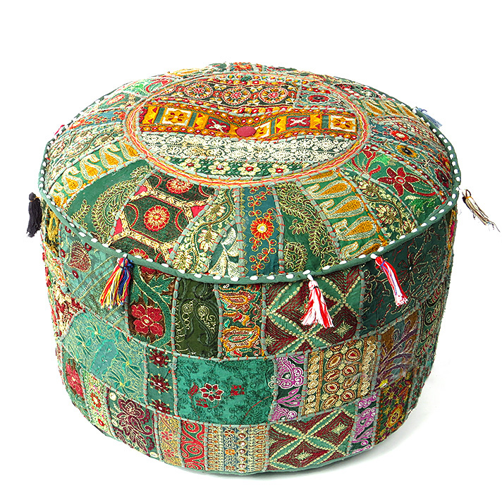 """Green Patchwork Round Pouf Pouffe Bohemian Boho Ottoman Cover - 22 X 12"""""""