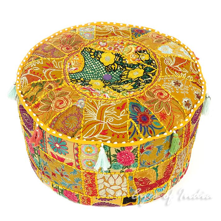 """Yellow Patchwork Round Pouf Pouffe Boho Bohemian Ottoman Cover - 22 X 12"""""""
