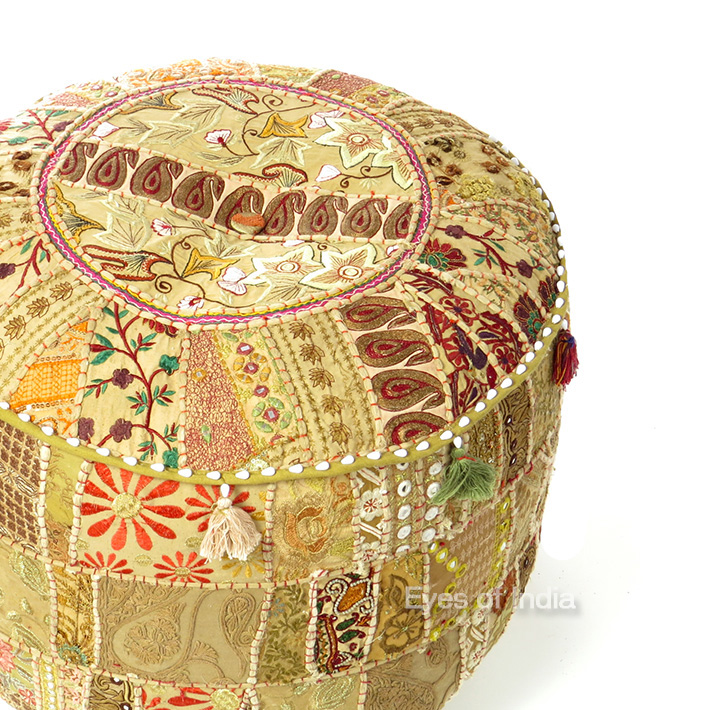 Light Brown Patchwork Round Bohemian Boho Ottoman Pouf Pouffe Cover - 22 X 12""