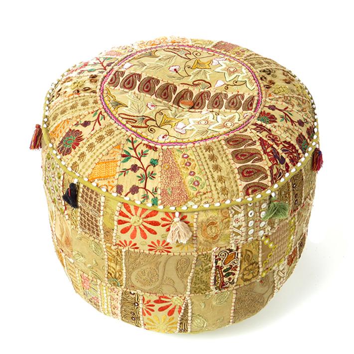"""Light Brown Patchwork Round Bohemian Boho Ottoman Pouf Pouffe Cover - 22 X 12"""""""