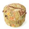 """Light Brown Patchwork Round Bohemian Boho Ottoman Pouf Pouffe Cover - 22 X 12"""" 1"""