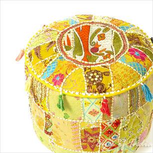 """Bright Yellow Bohemian Patchwork Round Boho Pouf Pouffe Ottoman Cover - 22 X 12"""""""