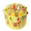 """Bright Yellow Bohemian Patchwork Round Boho Pouf Pouffe Ottoman Cover - 22 X 12"""" 1"""