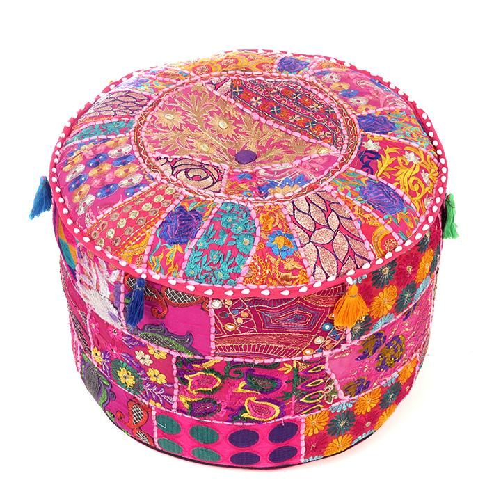 """Pink Patchwork Round Boho Bohemian Ottoman Pouf Pouffe Cover - 22 X 12"""""""
