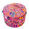 """Pink Patchwork Round Boho Bohemian Ottoman Pouf Pouffe Cover - 22 X 12"""" 1"""
