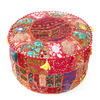 """Red Bohemian Patchwork Round Boho Ottoman Pouf Pouffe Cover - 22 X 12"""" 1"""