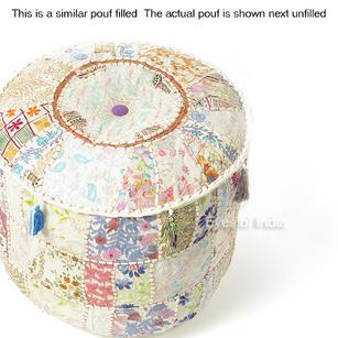 """White Patchwork Round Boho Bohemian Ottoman Pouf Pouffe Cover - 22 X 12"""""""