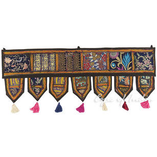 Black Boho Patchwork Bohemian Door Window Valance Toran Wall Hanging - 40""