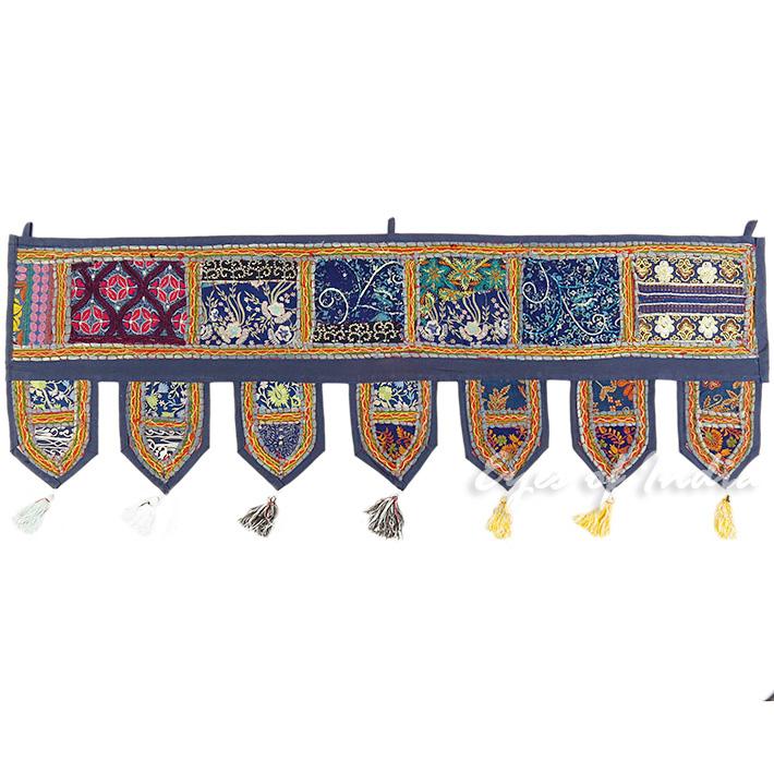 "Blue Window Door Toran Bohemian Valance Wall Hanging Boho Tapestry - 40"""