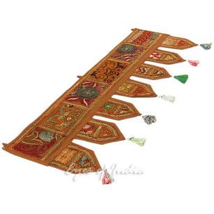 "Brown Patchwork Boho Window Door Bohemian Toran Valance Tapestry Hanging - 40"""