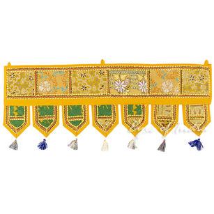 "Yellow Boho Door Window Valance Bohemian Toran Wall Hanging Tapestry- 40"""
