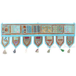 "Light Blue Bohemian Patchwork Boho Window Door Valance Toran Tapestry - 40"""
