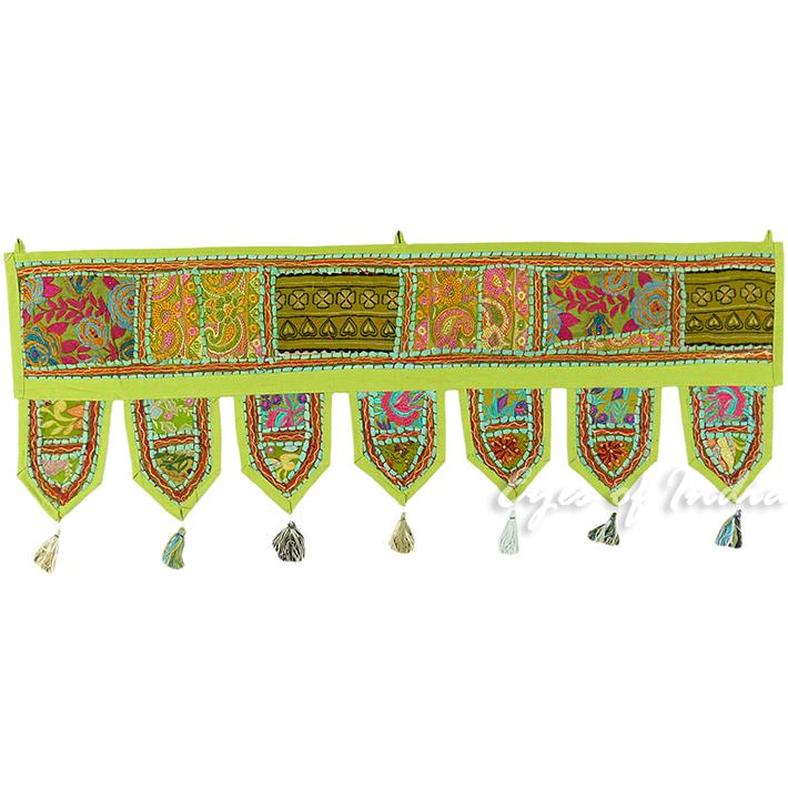 "Light Green Boho Patchwork Bohemian Door Window Valance Toran Tapestry - 40"""
