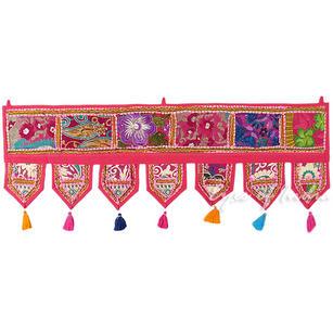 "Pink Patchwork Boho Door Window Bohemian Valance Toran Tapestry Hanging- 40"""