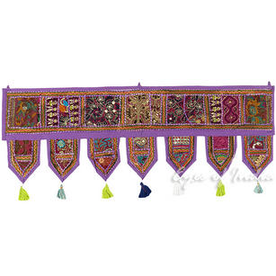 Purple Bohemian Window Door Toran Boho Valance Wall Hanging Tapestry - 40""