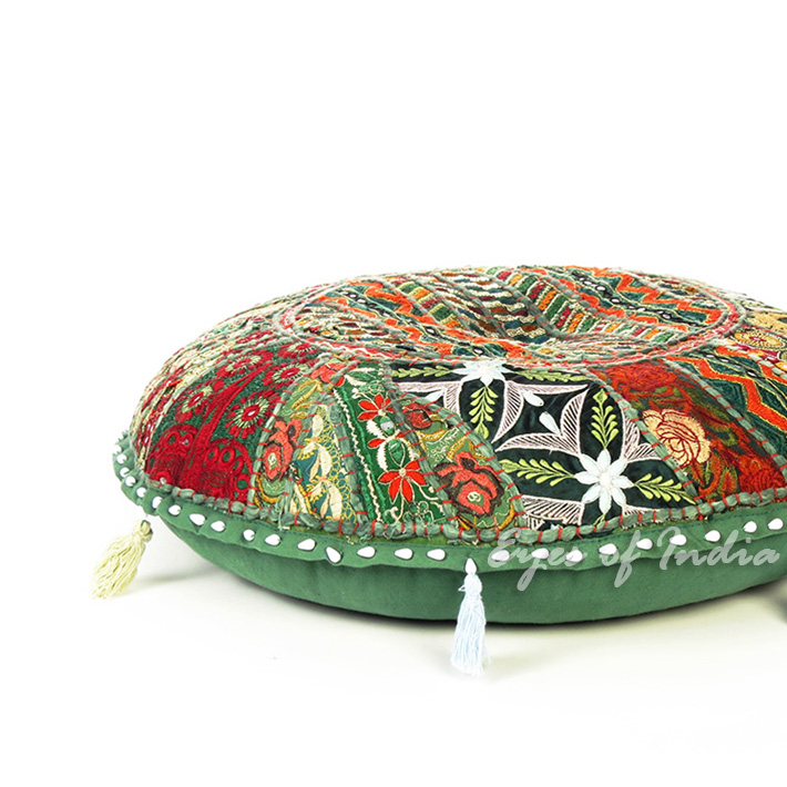 Green Bohemian Patchwork Round Boho Colorful Floor Seating Meditation Pillow Cushion Throw Cover - 17""