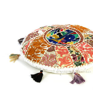 White Round Boho Decorative Seating Bohemian Floor Cushion Meditation Pillow Throw Cover - 17""
