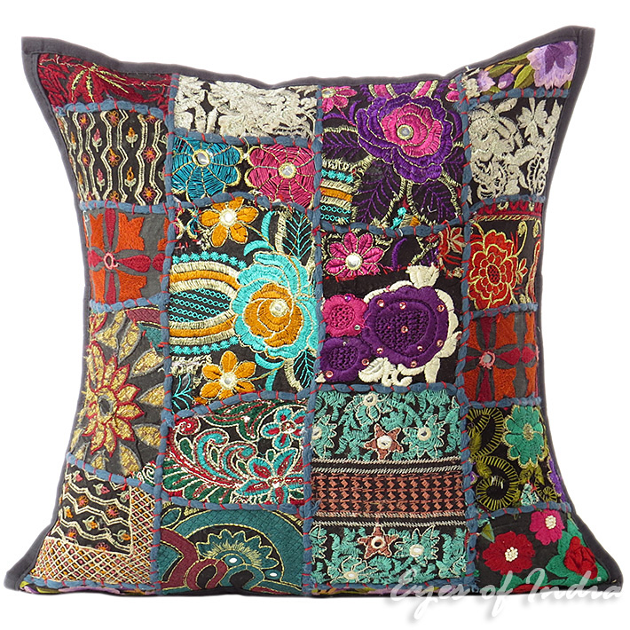 Bright Black Patchwork Colorful Decorative Boho Bohemian Sofa Throw Couch Pillow Cushion Cover - 16""
