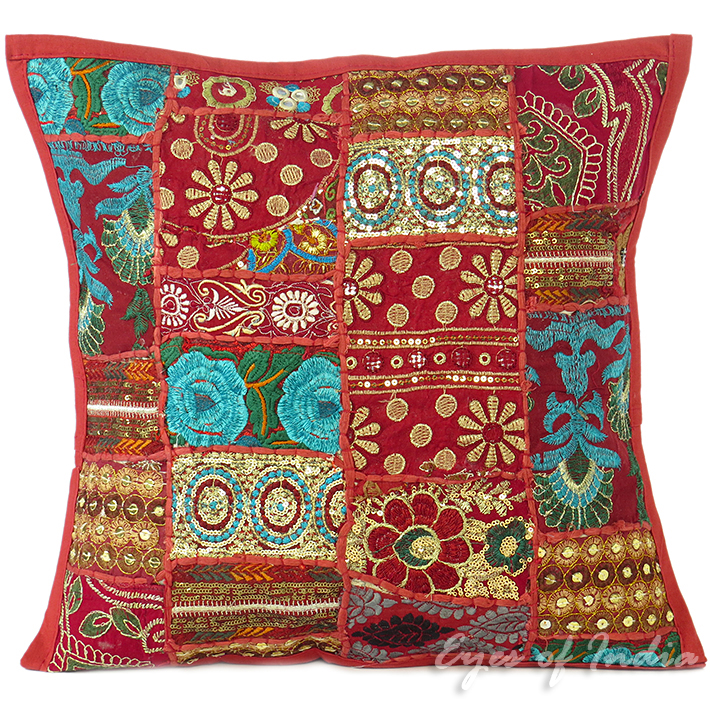 Burgundy Red Patchwork Decorative Bohemian Boho Throw Pillow Cushion Cover - 16""