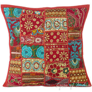 Burgundy Red Patchwork Colorful Decorative Bohemian Boho Sofa Throw Couch Pillow Cushion Cover - 16""
