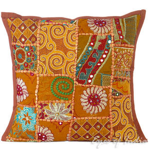 Brown Patchwork Colorful Decorative Boho Sofa Throw Pillow Bohemian Couch Cushion Cover - 16""