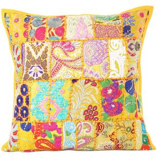 """Yellow Patchwork Colorful Decorative Boho Bohemian Sofa Throw Pillow Couch Cushion Cover - 16"""""""
