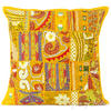 "Yellow Patchwork Colorful Decorative Boho Bohemian Sofa Throw Pillow Couch Cushion Cover - 16"" 1"