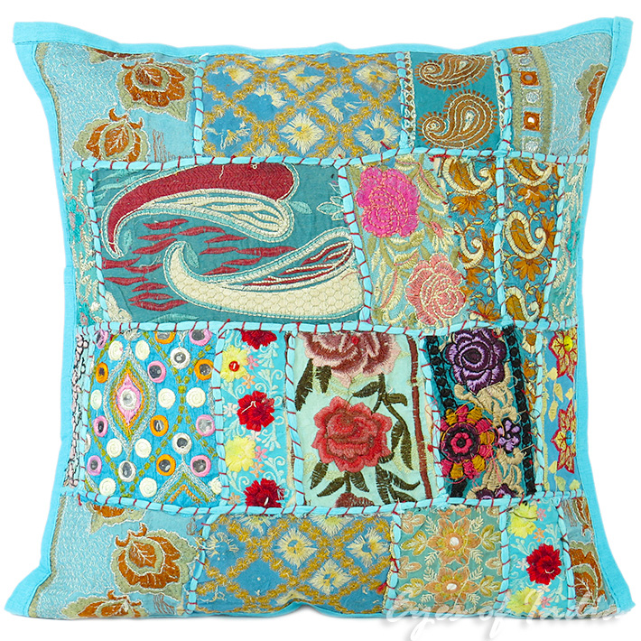 Blue Patchwork Bohemian Boho Colorful Throw Pillow Couch Sofa Cushion Cover - 16""