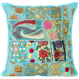 Blue Patchwork Bohemian Boho Throw Pillow Couch Sofa Cushion Cover - 16""
