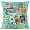 "Blue Patchwork Bohemian Boho Colorful Throw Pillow Couch Sofa Cushion Cover - 16"" 1"