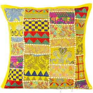 Bright Yellow Patchwork Colorful Decorative Boho Bohemian Sofa Throw Couch Pillow Cushion Cover - 16""