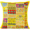 "Bright Yellow Patchwork Colorful Decorative Boho Bohemian Sofa Throw Couch Pillow Cushion Cover - 16"" 1"
