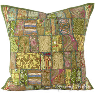 Olive Green Patchwork Decorative Bohemian Boho Throw Pillow Cushion Cover - 16""