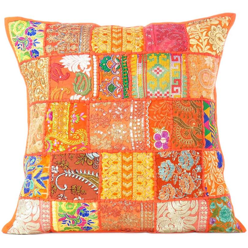 Orange Patchwork Bohemian Colorful Throw Pillow Boho Couch Sofa Cushion Cover - 16""