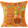 "Orange Patchwork Bohemian Colorful Throw Pillow Boho Couch Sofa Cushion Cover - 16"" 1"