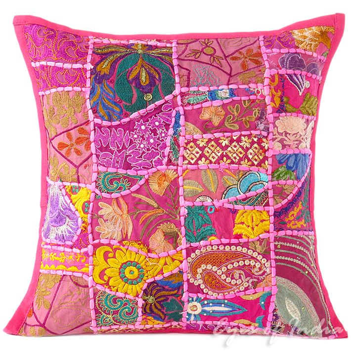 Pink Patchwork Colorful Decorative Pillow Couch Cushion Sofa Throw Cover Boho Bohemian - 16""