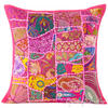 "Pink Patchwork Colorful Decorative Pillow Couch Cushion Sofa Throw Cover Boho Bohemian - 16"" 1"