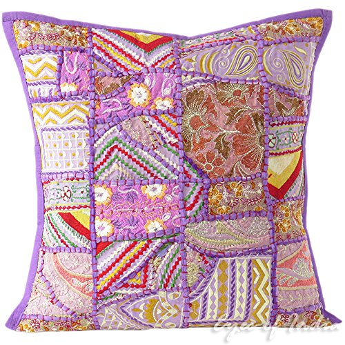 """Purple Patchwork Colorful Decorative Bohemian Boho Pillow Couch Cushion Sofa Throw Cover - 16"""""""