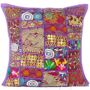 Purple Patchwork Colorful Decorative Bohemian Boho Pillow Couch Cushion Sofa Throw Cover - 16""