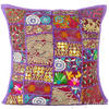 "Purple Patchwork Colorful Decorative Bohemian Boho Pillow Couch Cushion Sofa Throw Cover - 16"" 1"