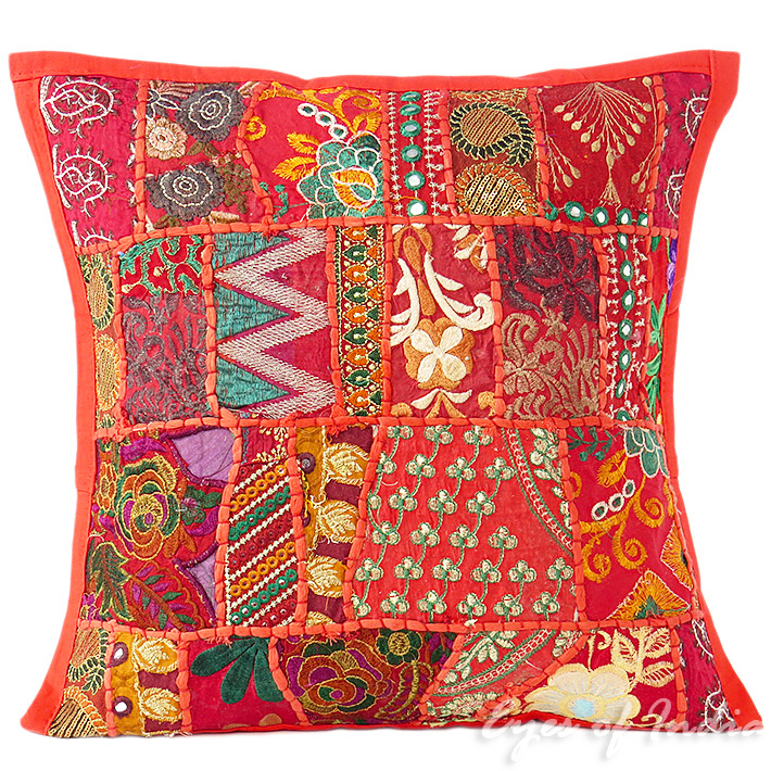Red Patchwork Colorful Decorative Bohemian Sofa Throw Pillow Boho Couch Cushion Cover - 16""