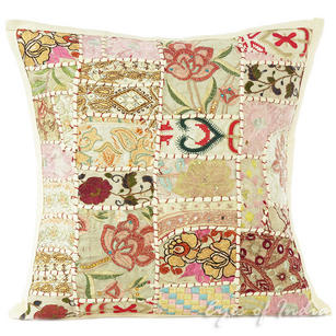 White Patchwork Boho Colorful Throw Pillow Bohemian Couch Sofa Cushion Cover - 16""