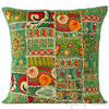 "Green Patchwork Colorful Decorative Bohemian Sofa Throw Pillow Boho Couch Cushion Cover - 16"" 1"