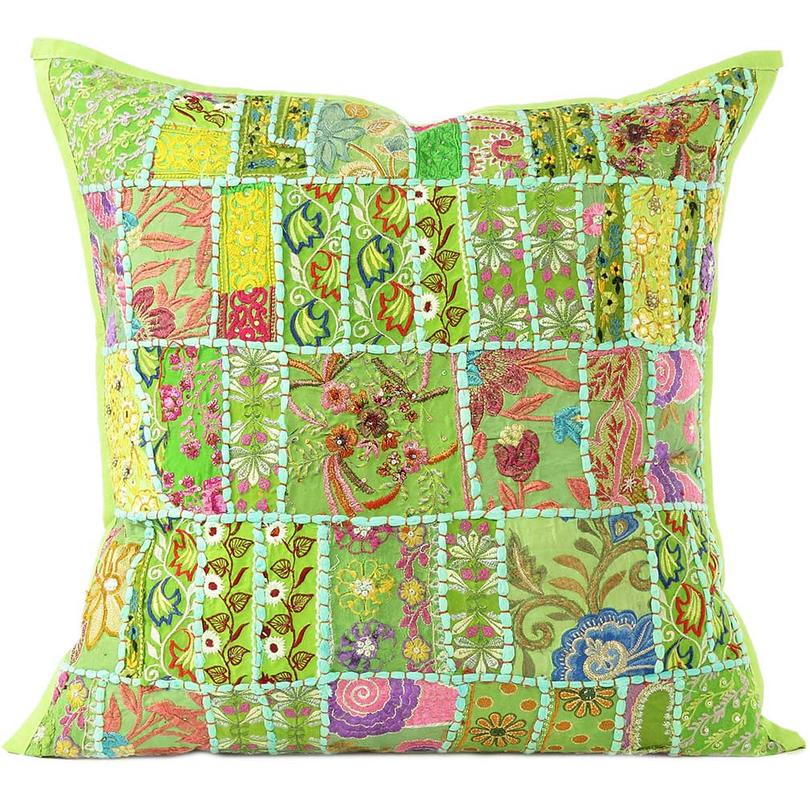 Green Patchwork Bohemian Boho Colorful Throw Pillow Couch Sofa Cushion Cover - 16""