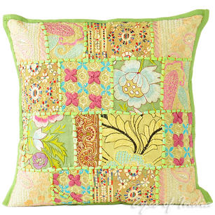 Green Patchwork Bohemian Boho Throw Pillow Couch Sofa Cushion Cover - 16""