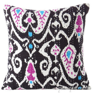 Black Ikat Kantha Decorative Boho Throw Pillow Bohemian Couch Cushion Cover - 16""