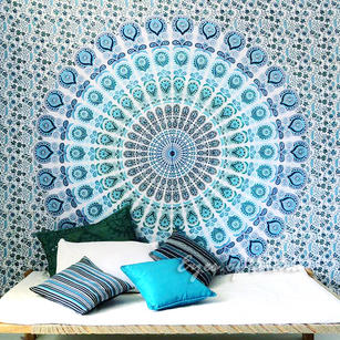 White Boho Mandala Tapestry Bohemian Hippie Wall Hanging Bedspread- Large/Queen
