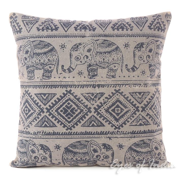 "Gray Elephant Decorative Boho Throw Pillow Bohemian Couch Cushion Cover - 18"""