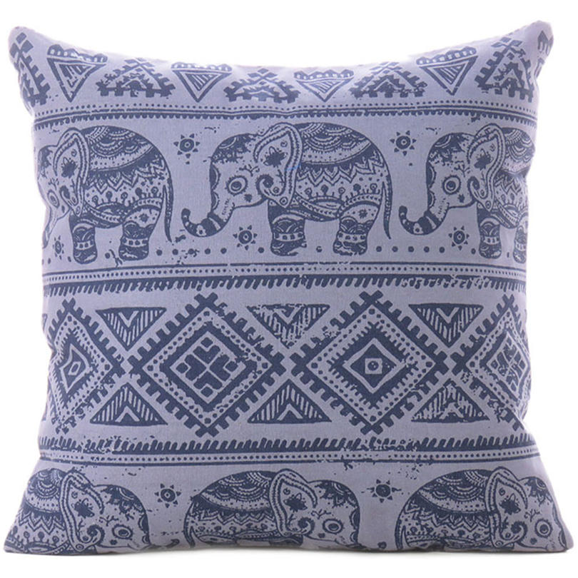 Gray Elephant Colorful Decorative Boho Sofa Throw Pillow Bohemian Couch Cushion Cover - 18""