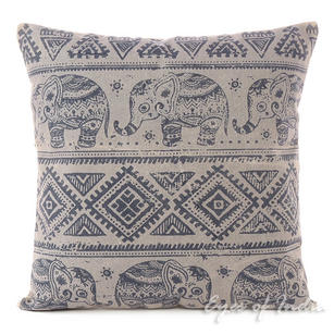 Gray Elephant Decorative Boho Throw Pillow Bohemian Couch Cushion Cover - 18""